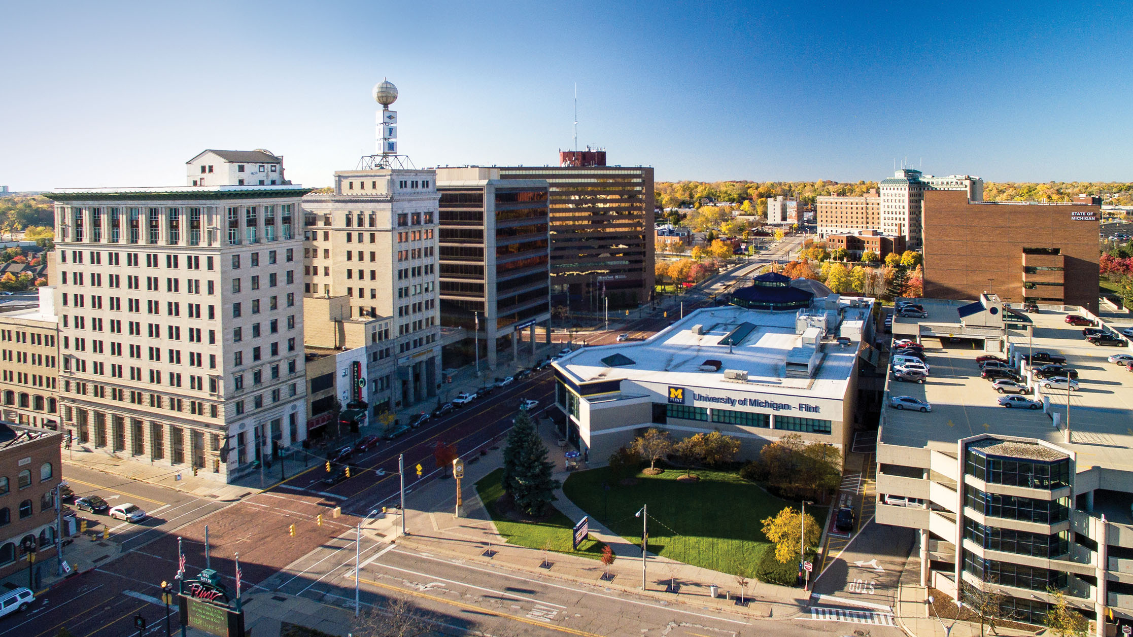 Aerial view of Downtown, Flint, MI