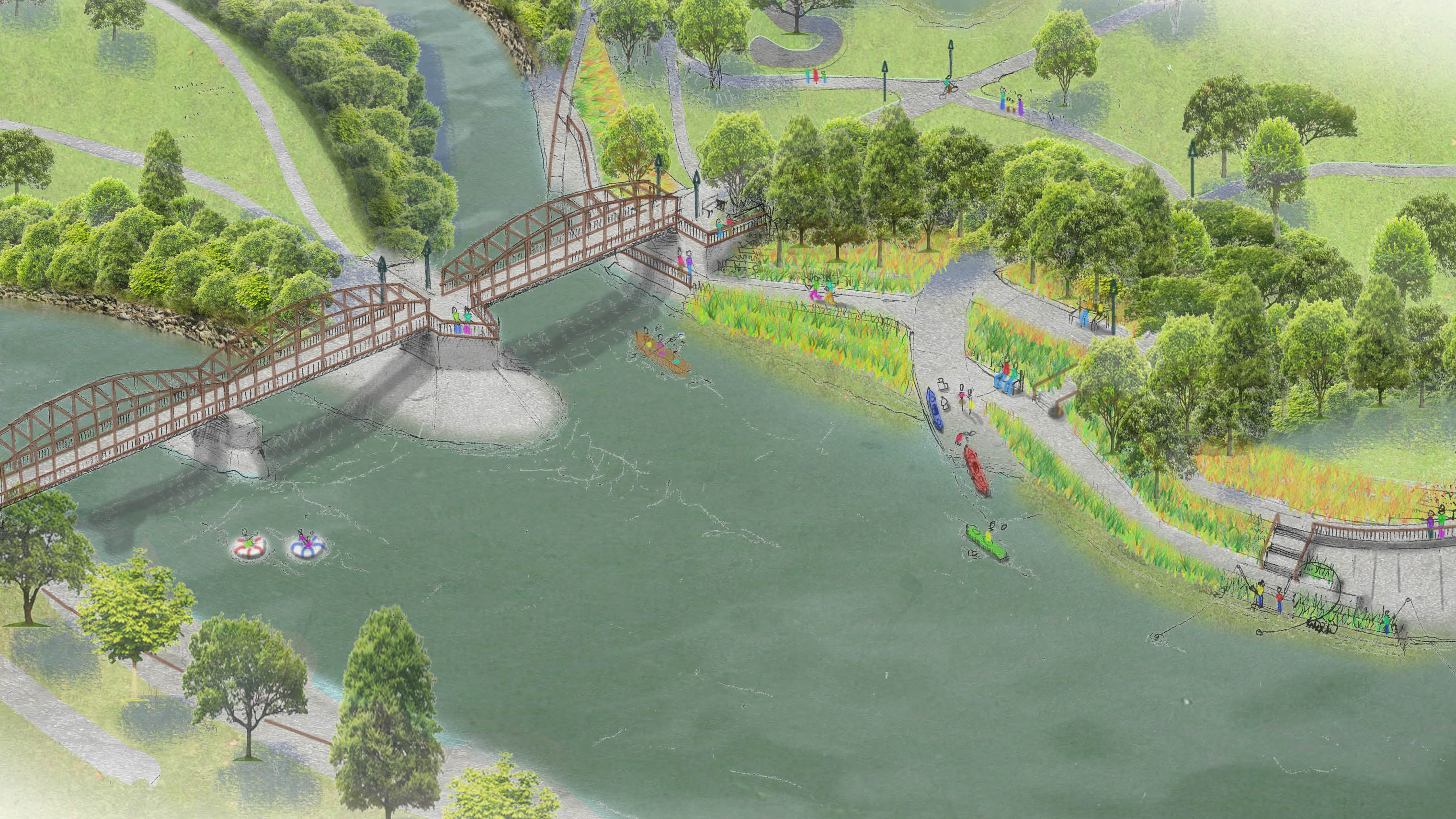 Rendering of confluence of the Flint River and Swartz Creek