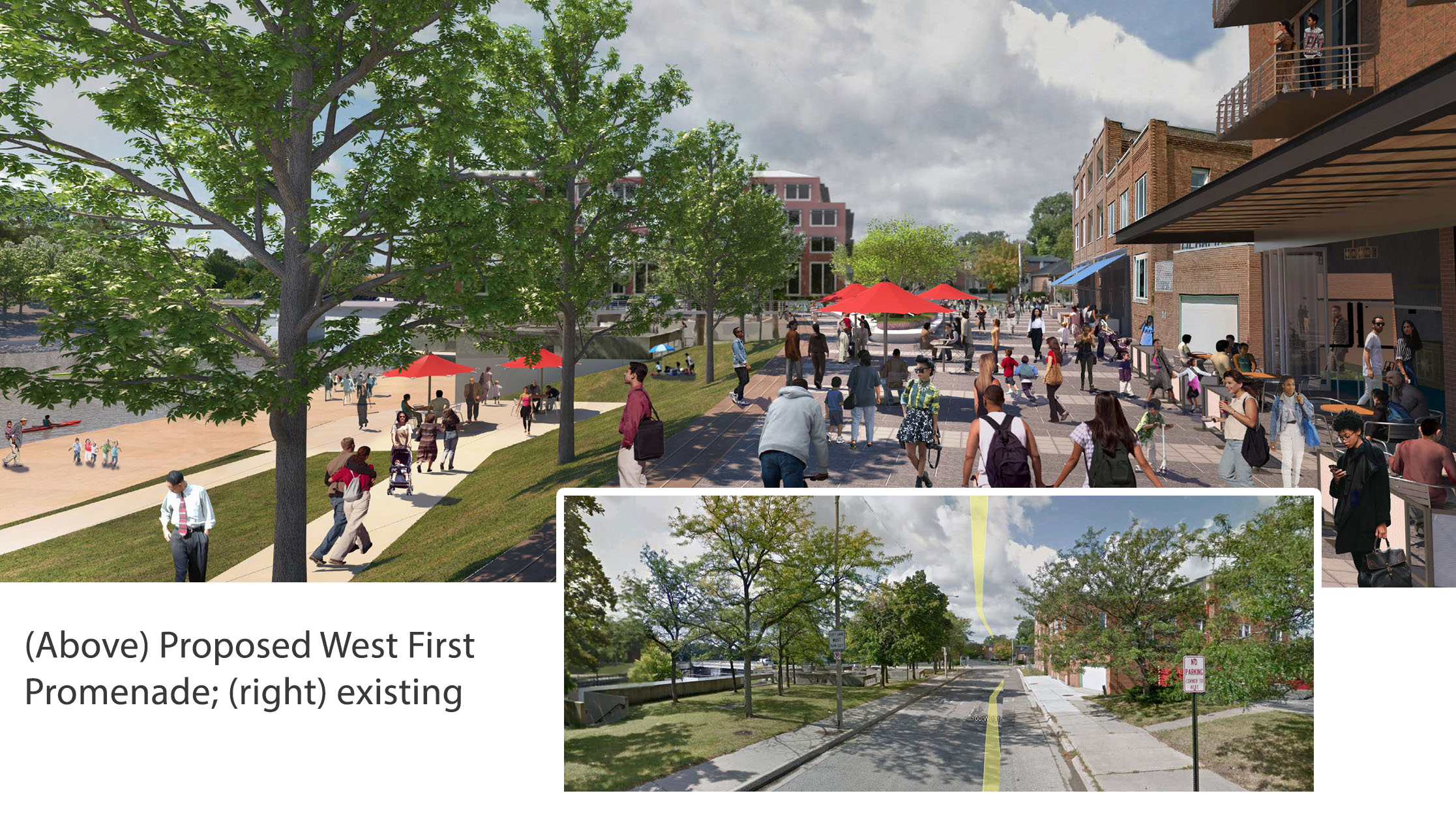 Downtown Flint Gameplan showing proposed West First Street enhancements