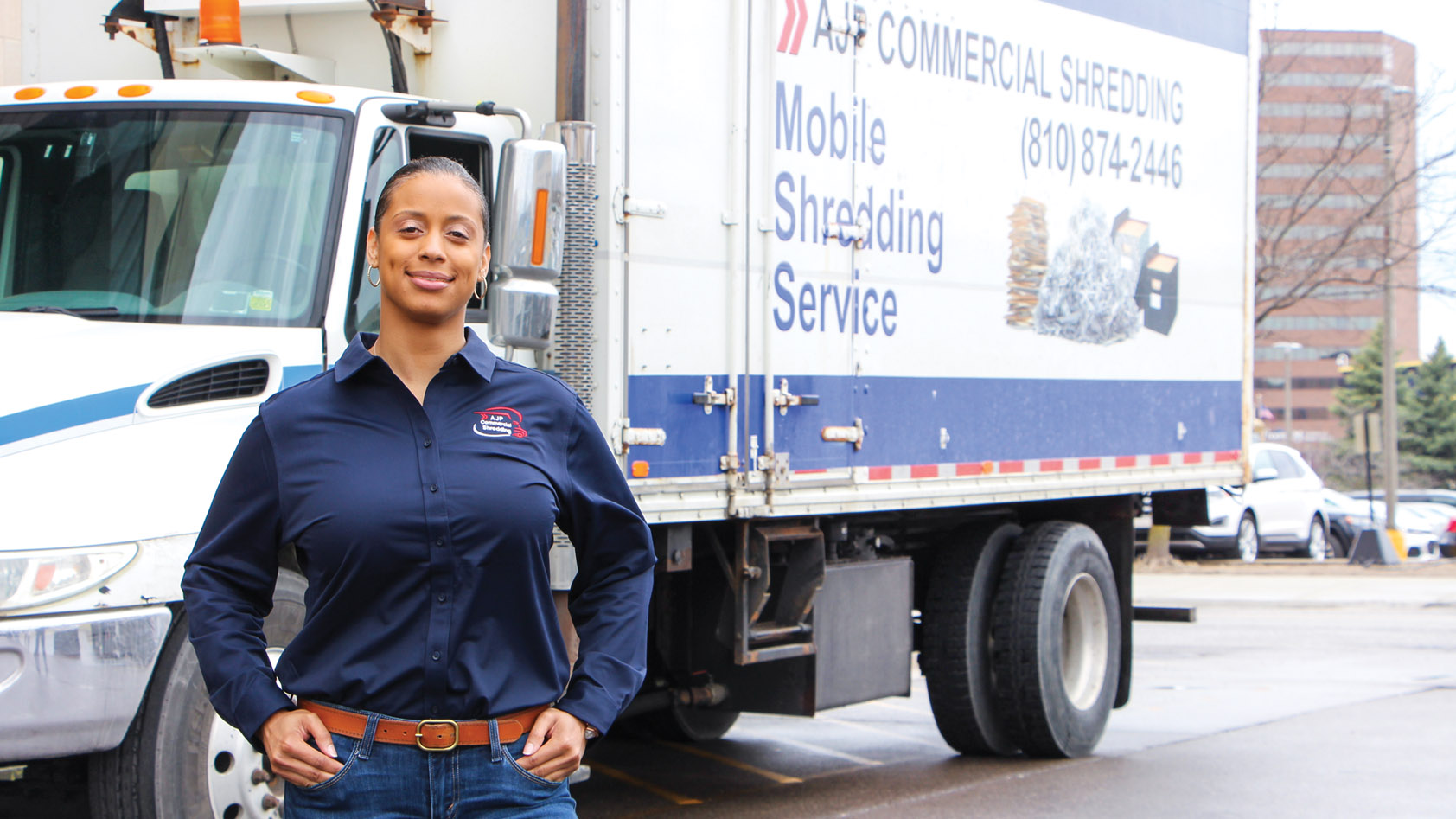 April January, owner of AJP Commercial Shredding, Genesee County, MI