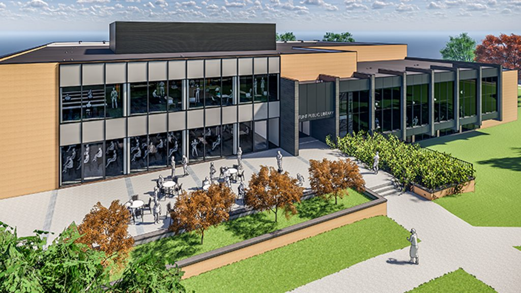 Rendering of Flint Public Library renovations