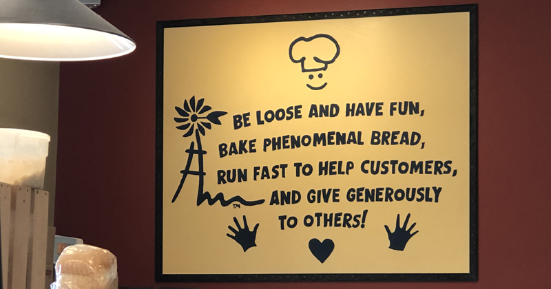 Mission statement posted on the wall of Great Harvest Bread Co.