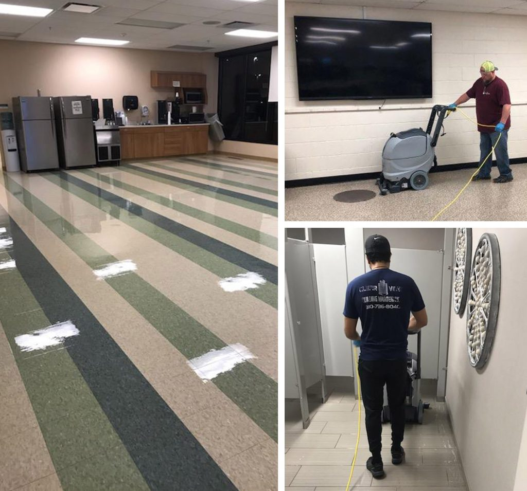 ClearView employees clean and disinfect floors