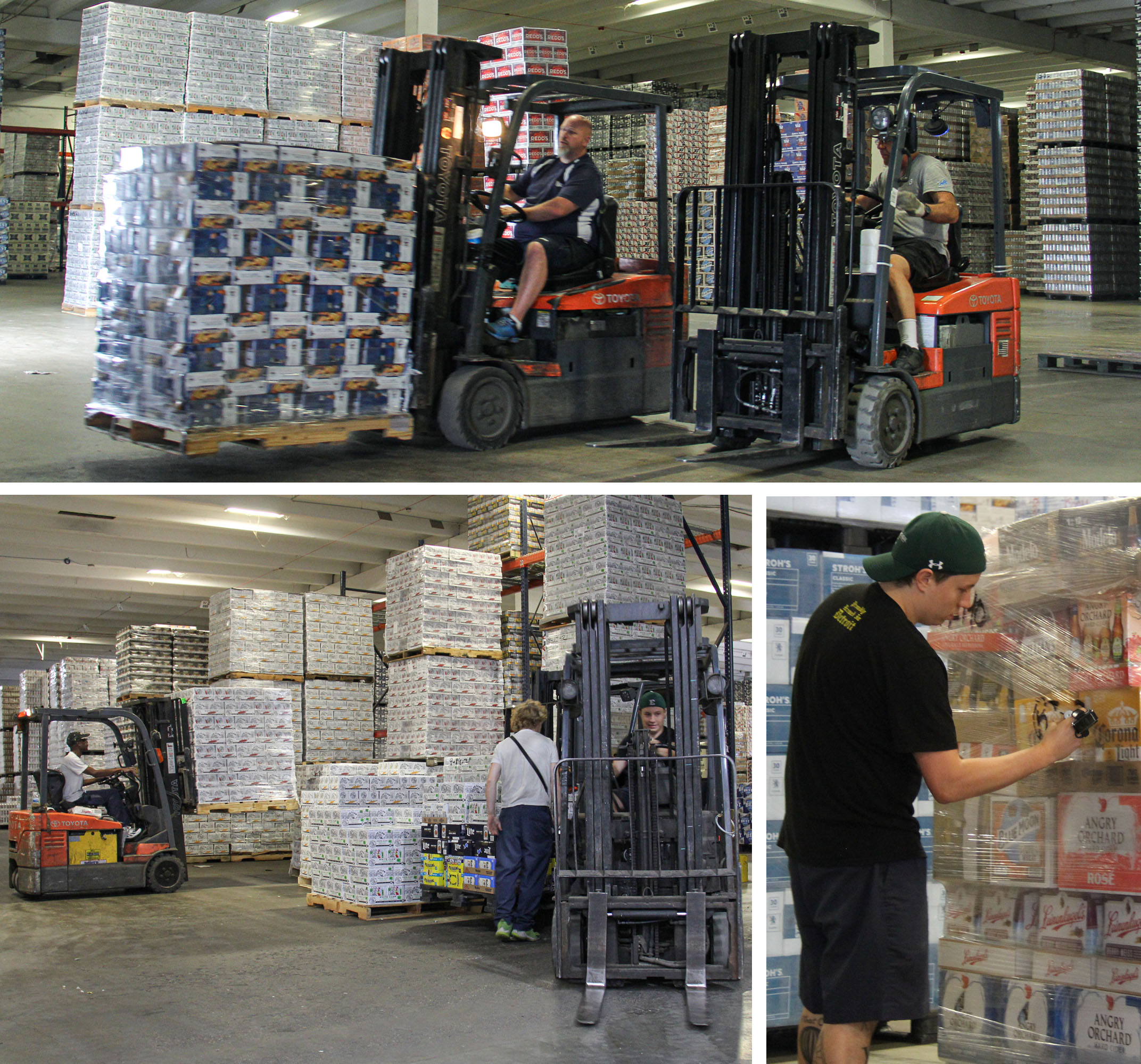 Warehouse employees working inside beer distributor