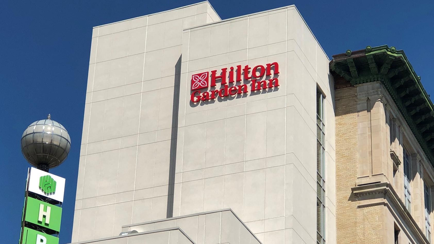 Exterior shot of the Hilton Garden Inn in downtown Flint