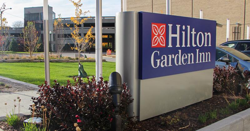 Outside of new Hilton Garden Inn in downtown Flint, MI