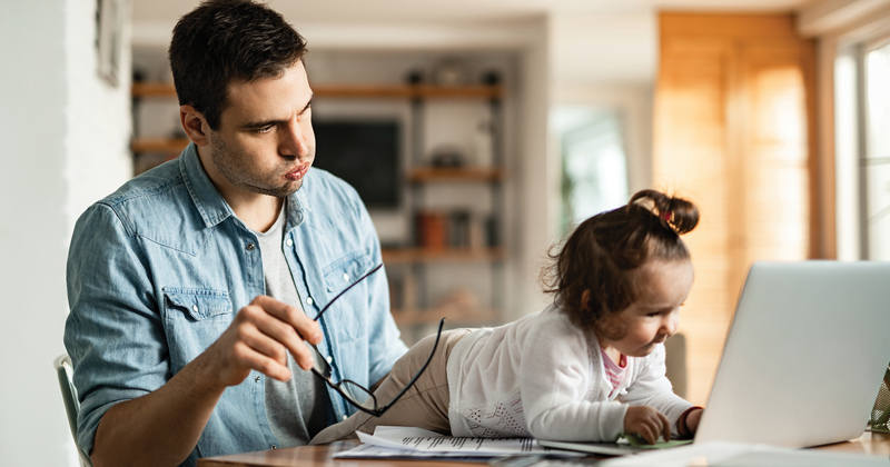 Frustrated parent tries to work from home