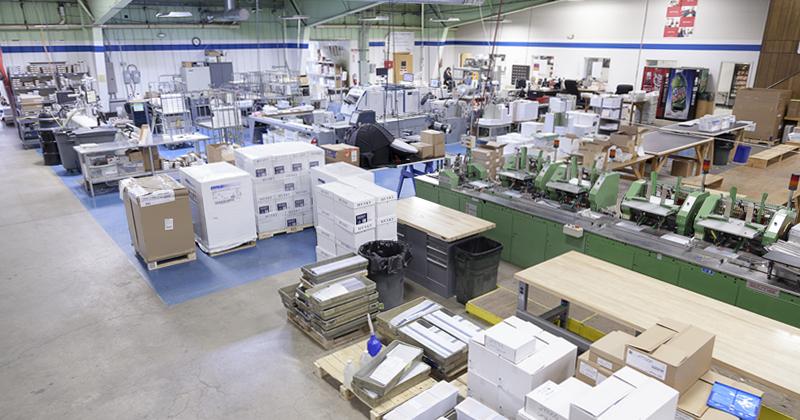 Print shop at TGI Direct in Flint, MI