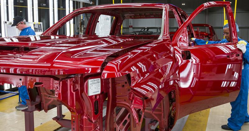 A 2020 Chevrolet Silverado HD in the paint shop at General Motors Flint Assembly.