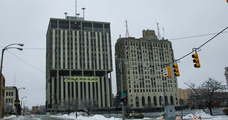 Genesee Towers before it is demolished, downtown Flint
