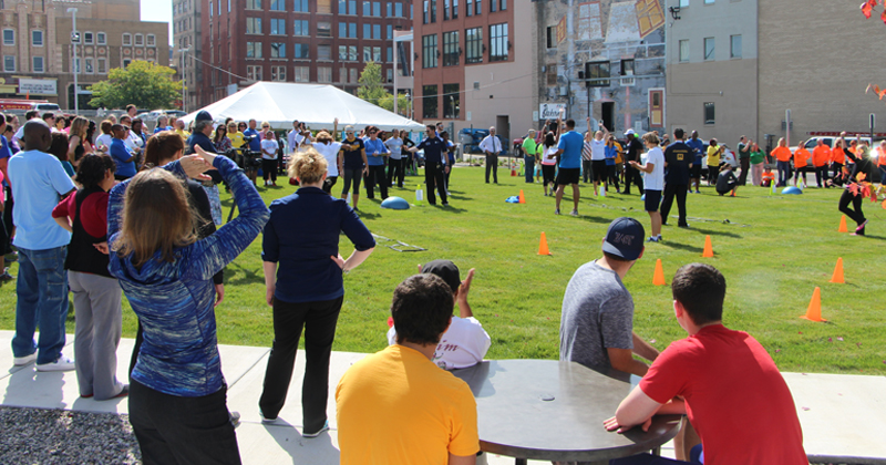 Commit to Fit holds their fitness challenge in Brush Park, downtown Flint
