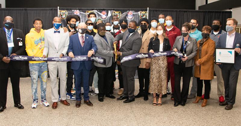 Flint United Basketball Club ribbon cutting