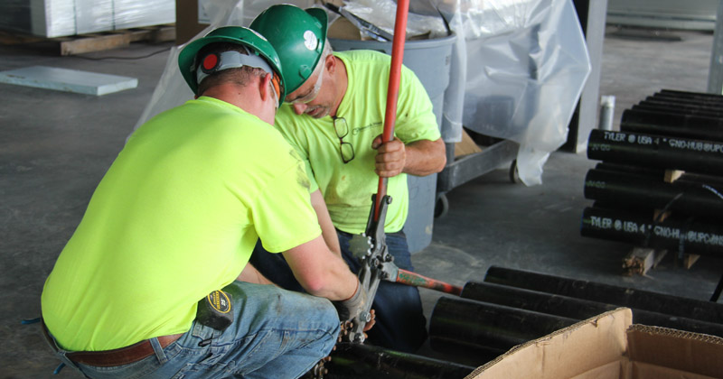 Skilled tradesmen working on a construction site