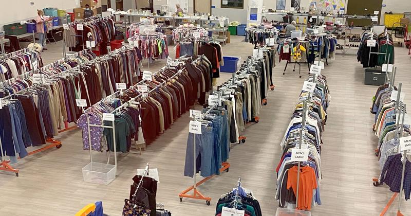 clothes closet at Catholic Charities