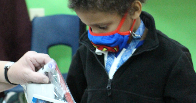 A student at the International Academy of Flint